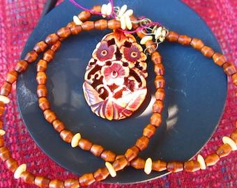 Wood Carved Flower Necklace