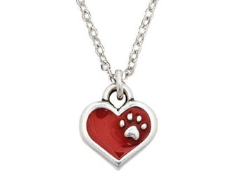 Pewter Heart Necklace - Red with Paw Print