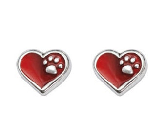 Pewter Heart Earrings - Red with Paw Print