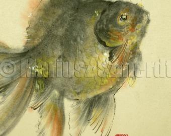 Sale, Goldfish, Koi fish, chinese painting, japanese art, symbol, chinese art, watercolor artwork, fish