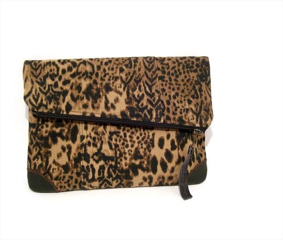 Leopard clutch, fold over clutch purse, animal print