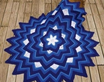 New price Six-Pointed Star Afghan, You pick Color