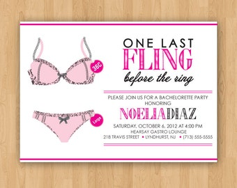One Last Fling Before the Ring DIY Printable Bachelorette Party Invitation