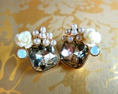 SALE: Classic Earrings with Roses, Pearls and square Crystal set on gold-tone backing