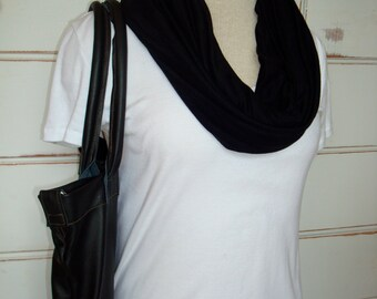 Free US Shipping Black Summer Jersey Knit Infinity Scarf Cowl