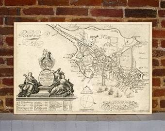 1728 Boston Vintage Map Canvas Print