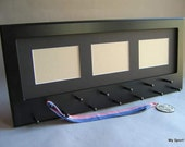 Black Sport Medal display with photo frame. Black mat.