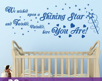 SHINING STAR quote TWINKLE twinkle little star wall sticker art decal little baby girls boys nursery bedroom playroom rhyme