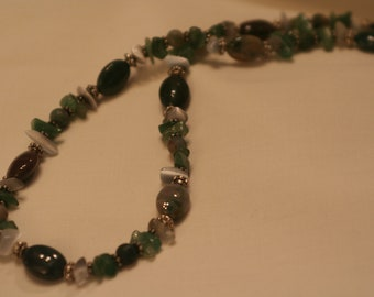 Indian Agate and Fiber optic Necklace (1014)