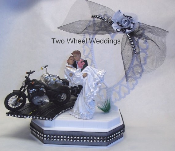 items similar to two on the road motorcycle cake topper biker wedding on etsy. Black Bedroom Furniture Sets. Home Design Ideas