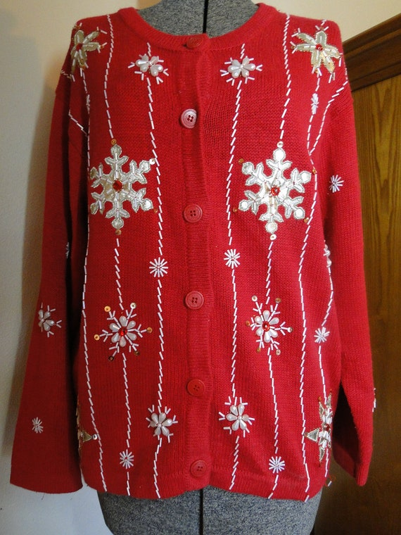 Cheap Ugly Christmas Sweater Cardigan Size Large Tacky, Gaudy, Novelty ...