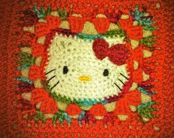 Crochet Kitty Blanket - Melon/Fall Mix
