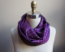 Purple Infinity Scarf, Satin Circle Scarf, Dressy Scarf, Purple Satin Scarf, Gifts For Her, Winter Accessory, Special Occassion Scarf