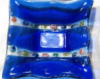 Vintage Venetian Italian Murano Art Glass  Millefiori Cobalt BlueTrinket Dish Tray Bowl