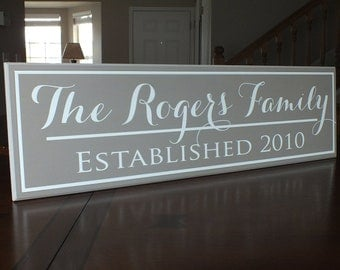 "Personalized Family Name Sign Established Sign Last Name Sign 7""x24"""