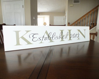 "Personalized Family Name Sign Established Custom Last Name Sign 7""x36"""