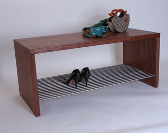 Bank, multifunctional, Walnut oiled with stainless steel grate