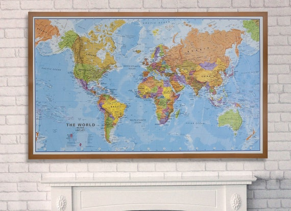 Political Map of the World Wooden Frame by MapsInternationalUSA