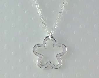 Tiny Sterling Silver Star Flower Necklace- Sterling Silver Chain