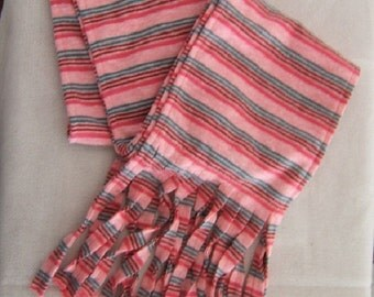 Pinks and Teal Striped Knit Scarf