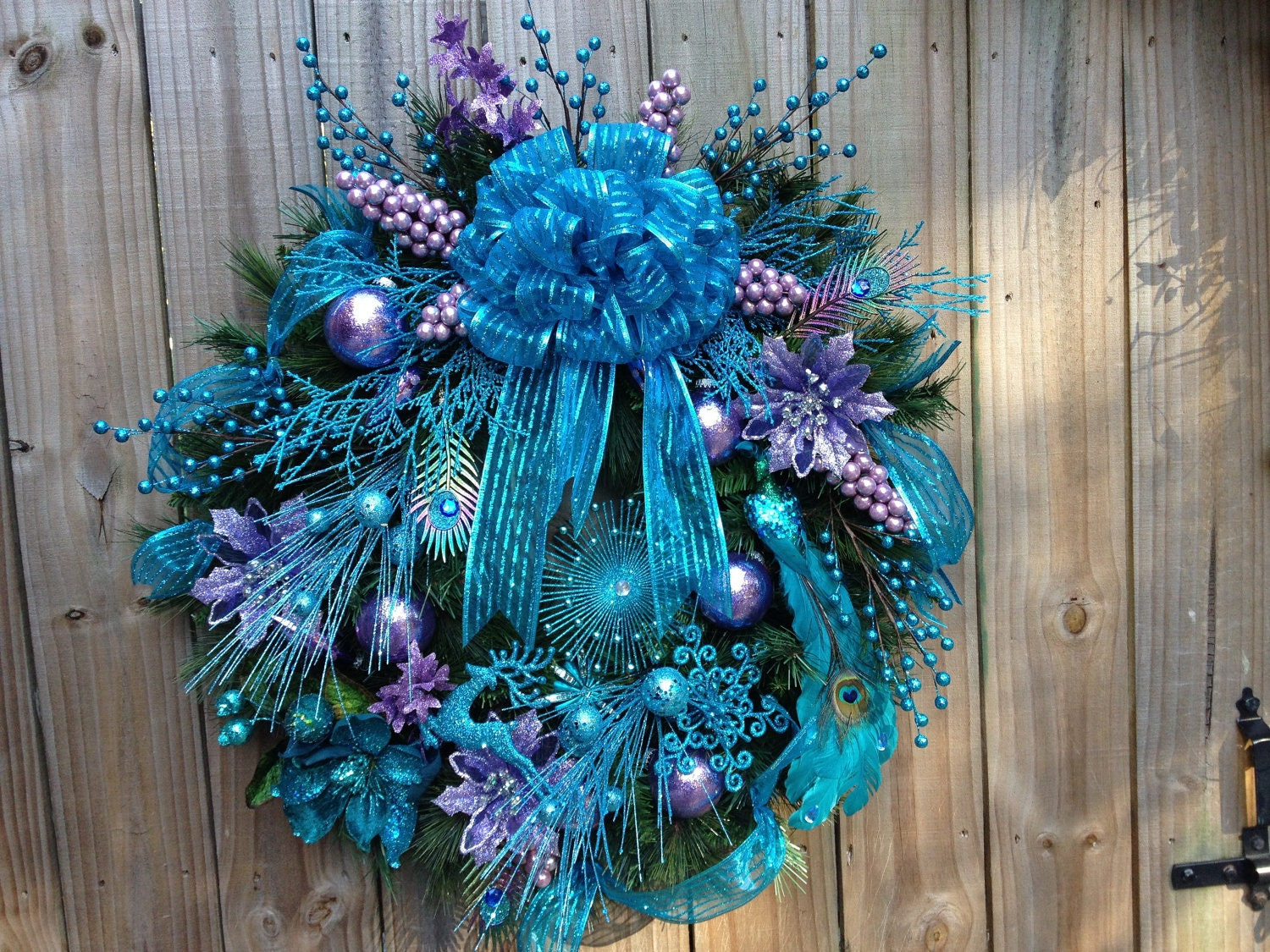 ideas for wedding pictures in the rain - Teal and Lavender Peacock Christmas Wreath
