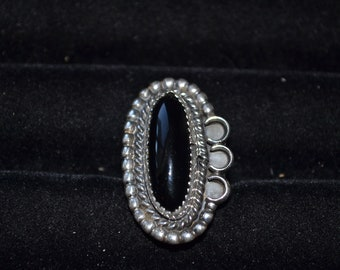Size 6.5 Handmade Sterling Silver and Black Oynx Ring