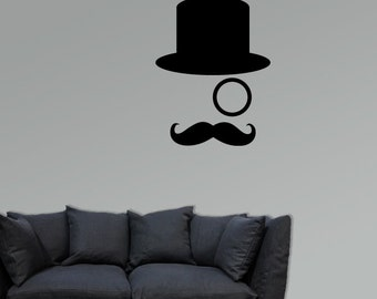 Top Hat, monocle and moustache vinyl decal