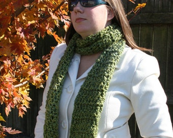 Green Super Soft Handmade Crochet Scarf Ready to Ship