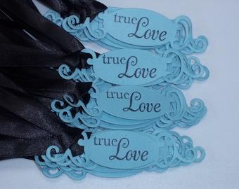 25  WEDDING TAGS  True Love Adorned With Black Satin Ribbon