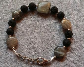 Lava and labradorite bracelet
