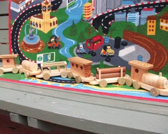 Beautiful handmade wooden six piece train car set