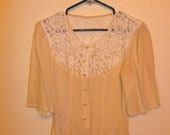 Vintage 60's Beige Silk Blouse with Lace Detail and Pearl Buttons