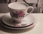 Pink and grey rose teacup candle trio