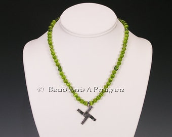 Sterling Silver  St Bridget's Cross Olivine Beaded Necklace