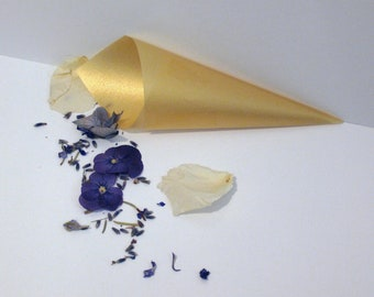 GOLDEN Vellum Cones, confetti cones, candy cones, wedding favors, wedding paper cones - unfilled, set of 10