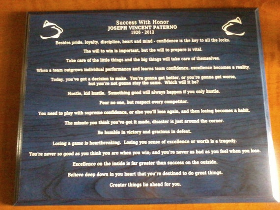 Laser Engraved  - Penn State Joe Paterno famous sayings - motivational