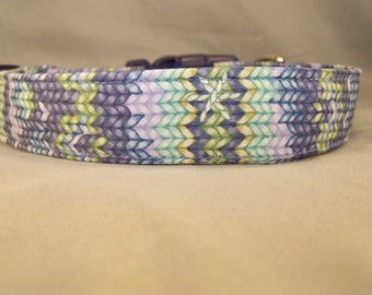 Blue Knit look Dog Collar