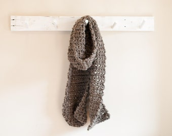 Handmade Crocheted Barley Brown Wool Blend Scarf with Free Shipping