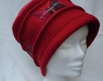 red cloche hat, felt cloche hat,women wool hat