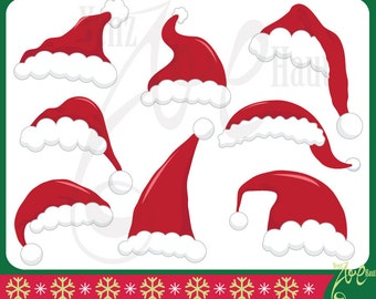 "Christmas Santa Hat Clipart ""CHRISTMAS SANTA HAT"" set,Santa Claus Hat,Christmas,printable Xmas,Red Santa Hat Clip Art Cm019"