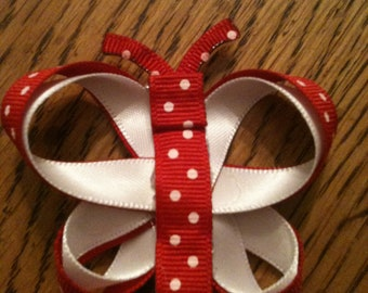 Butterfly Hair Clip (Red & White)