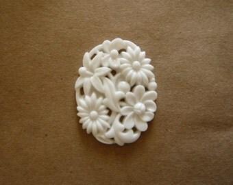 Vintage Carved Floral Glass Pendant