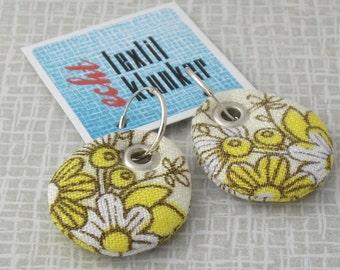 hand-sewn fabric earrings yellow, white, flowers