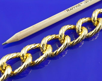 1ft Large Gold Chain, Texture Chain, Chunky Chain, Aluminum Chain, 28x20mm, 13A8.1D