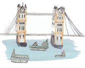 Limited edition prints. London Bridge. Wall decor. Illustration.