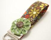 Wristlet Key Fob in Brown Floral with Lettuce Dot Flower