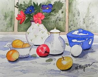 Original Watercolor Still Life, Kitchen Art