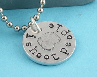 I Shoot People Necklace - Silver Necklace - Camera Necklace - Photographer Gift - Gift For Photographer - Charm Necklace - Gift Under 20