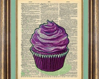 CUPCAKE Dictionary page art print book page art print up cycled