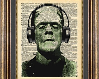 Frankenstein Headphones Book page art Vintage Dictionary Page Up Cycled